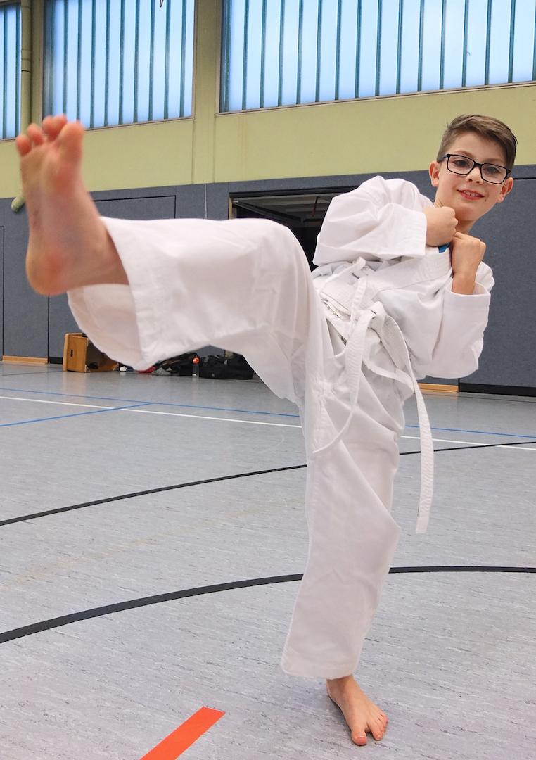 Marwin beim Karate-Training. Foto: privat