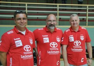 Das Trainer-Trio des TB Wülfrath (v.l.): Kai Buschhaus, Andi Linke und Olli Schmitz. Foto: TME