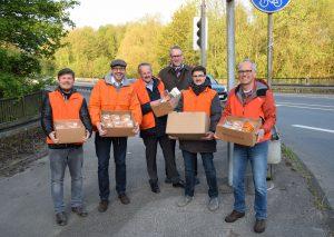 Machten heute Straßenwahlkampf (v.r.): Landtagskandidat Martin Sträßer, Christian Schölzel, Norbert Albrecht, Claus Leifeld, Marc Ratajczak und Patrick Dahm.
