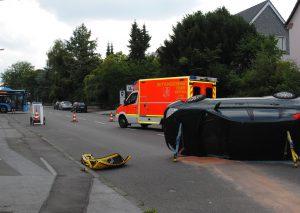 Schwerer Unfall auf der Mettmanner Straße in Wülfrath. Foto: TME