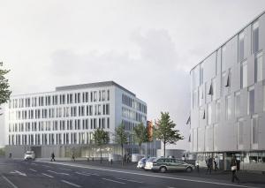 So soll das neue Gebäude an der Willetstraße aussehen. Rechts auf der Visualisierung das bereits bestehende Gebäude der Kreispolizeibehörde.