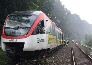 Der verunfallte Zug der Regiobahn. Foto: Feuerwehr Mettmann
