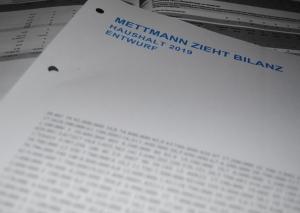 Der Haushaltsentwurf für 2019. Foto: TME