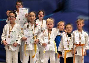 Erfolgreiche Judokas (v.l.): Oliver, Leander, Lena, Amalia, Krill, Justus, Tim und Connor. Foto: Verein