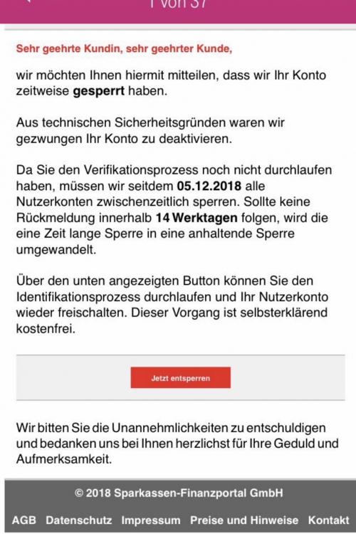 Vor solchen Mails zum Beispiel warnt die KSK Düsseldorf.